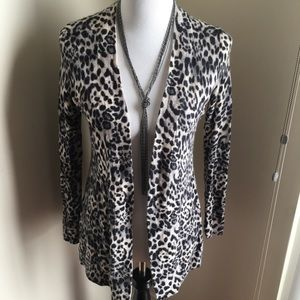 Animal Print Cashmere Cardigan
